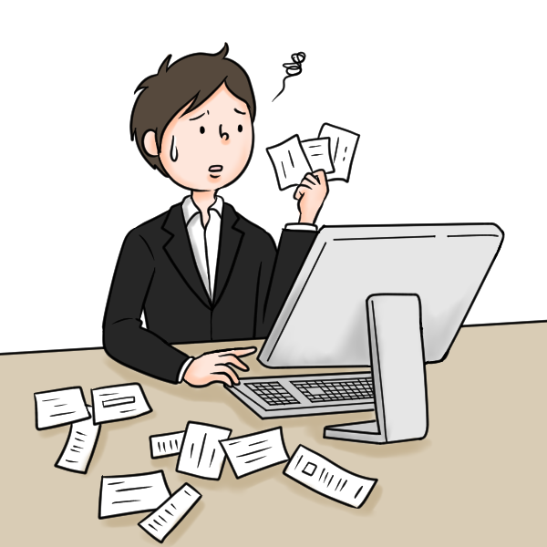 机の上に散らばったレシートや領収証を片手に持ち困っている