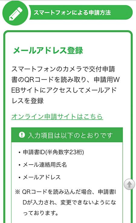 スマートフォンによる申請方法ページ
